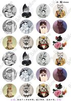 Wholesale Cartoon Jewelry Images - BoYuTe 24Pcs Round 18mm Cabochons European Style Mix Royal Cat Sailor Sign Cartoon Image Glass Cabochon Diy Jewelry Findings