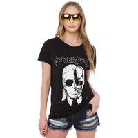 artı boyutu kafatası gömlek kadın toptan satış-Toptan Satış - Toptan-Kadınlar LAGERFELD Mektubu T-shirt 2016 Yeni Kafatası Baskılı Siyah Punk Pamuk T Shirt Womens Marka Plus Size Tee Top QA925 Tops