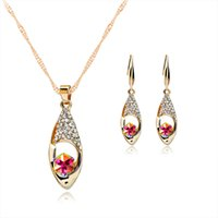 Crystal Diamond Angel Lágrimas Drop Necklace Earrings Sets Gold Chain Necklace for Women Fashion Wedding Jewelry 162050