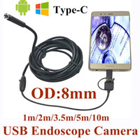 Wholesale Endoscope Ip66 Waterproof - 8mm 3 in 1 USB Endoscope Camera 1-10m Soft Wire IP66 Waterproof Snake Tube Inspection Android OTG Type-C USB Borescope Camera