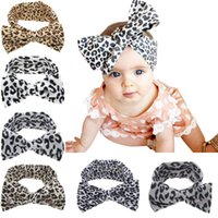 Wholesale Leopard Headband Bow - New Baby Girls Leopard Bow Elastic Cotton Headbands Kids Children Big Bowknot Hair Accessories Dot Hairbands for Girls 6 Colors KHA391