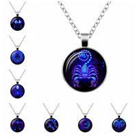 tierkreis anhänger für männer großhandel-Chokerhalsketten für Frauen Männer Modeschmuck Großhandel New Twelve Zodiac Constellations Alloy Pendant Necklace