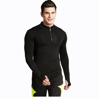 Men sports leisure clothing - Men s tight elastic fast drying long sleeved sports T shirt men s leisure fitness clothes