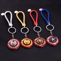 Wholesale Usa Leather Wrist - Cartoon USA Captain Shield and Iron Man Metal Alloy Key Chain Keyring Car Keychains Waist Key Ring with PU Leather Wrist Strap
