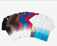 Wholesale Dip Dyed Shorts - 2017 hot sale Tee Men's Funny Hip Hop Dip Dye Cotton POLO T-shirt Short Sleeve Tee