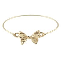 Wholesale Hand Bracelet For Women - Latest Design Gold Color Alloy Concise Bowknot Charm Bracelet and Bangles Hand Made Bijuterias For Women