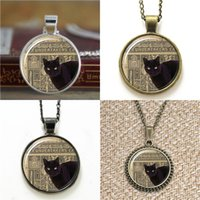Wholesale Cute Cat Bookmarks - 10pcs Gun Black Cat Cute Halloween Black Pendant 3579 Jewelry glass Necklace keyring bookmark cufflink earring bracelet