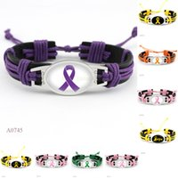 Wholesale Breast Wrap - (10 Pieces Lot) Fashion Hope Fighter Breast Cancer Ribbon Awareness Heart Charm Leather Wrap Cuff Bracelets For Women Men Girl Jewelry