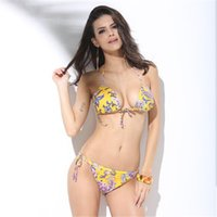 Wholesale Bikini Korea - The new 2017 national wind printing South Korea swimsuit sexy bikini, small and pure and fresh, floral, backless
