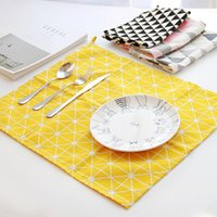 Wholesale European style Table Napkin the same kind on Instagram Rectangle Linen Cotton Fabric High quality table cloths mat for dinner colorful
