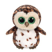 Barato Coruja Grossa De Peluches-Atacado - Em estoque Original Ty Beanie Boos Big Eyed Stuffed Animal SAMMY - coruja marrom Plush Doll Kids Toy 6 '' Birthday Gift