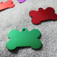 100 pz / lotto Alluminio Large Size 50 * 33mm Blank Bone Dog ID Tag Pet Tag per cani di grossa taglia