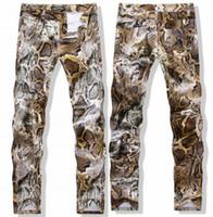 Wholesale drawing patterns jeans resale online - 2017 Men Jeans Serpentine Pattern Flower Slim Pants Colored Drawing Print Casual Hip Hop Jeans Male Four Seasons Size