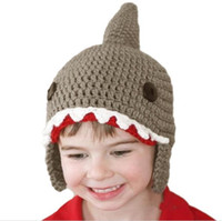 Wholesale Shark Ear - 2016 Cute Kids Knitted Baby Caps Winter Warm Boys Girls Shark Hats Beanie Ear Baby Hat Lovely Baby Caps Beanies Free Shipping