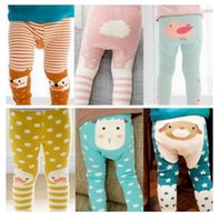 Wholesale Girls Summer Tights - Baby Leggings Stripe Fox Boys Girls Elastic Cotton Soft Girls Animal PP Pants Kids Tights 8 Styles Free Shipping