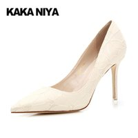 Wholesale Off White Wedding Heels - Lace High Heels 4 34 Small Size Wedding Stiletto Off White Pumps 2017 Black Pointed Toe Ladies Classic 9cm Inch Shoes Ivory