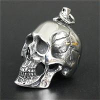 Wholesale Boys Skull Pendant - Newest Huge Heavy Skull Pendant 316L Stainless Steel Jewelry Personal Design Cool Men Boys Biker Skull Pendant