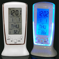Wholesale Digital Thermometer Alarm Home Clock - Wholesale- 1PCS NEW Digital LED light display Desk Alarm Clock watch Thermometer Calendar home living room bedroom desk decoration-5z