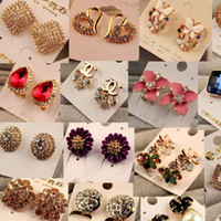 Wholesale Korean Fashion Elegant - Korean fashion elegant high-quality color diamond earrings earrings with diamond free shipping