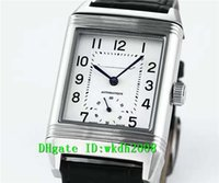 Wholesale Sapphire Crystal Automatic - Luxury Brand Top quality Stainless Steel Reverso Automatic Mens Watch Sapphire Crystal Black Leather Strap Luminous Business Wristwatches