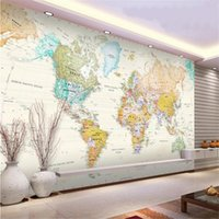 Wholesale kids mural painting resale online - custom d photo wallpaper living room mural pale coloured world map d picture painting sofa TV background wallpaper non woven wall sticker