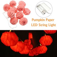 Wholesale Battery White Paper Lantern - Wholesale- Warm White 1M 10 LED Battery Powered Pumpkin Paper Lantern Party String Lights