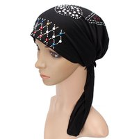 Wholesale Islamic Crystal Wholesale - Wholesale-Sequin Crystal Elastic With Belt Muslim Hat Hijab Islamic Turban Sequins Muslim Hijabs Islamic Underscarf Hat Cap Headwear