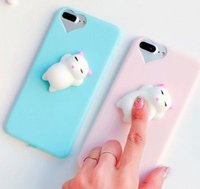 Wholesale Cute Mobile Cases - Squishy Mobile Phone Case 3D Cute Sleep Cat Phone Cover for iPhone 6s 6 6 Plus 7 7 Plus 5 5s SE Case Soft Silicone Gel Shell