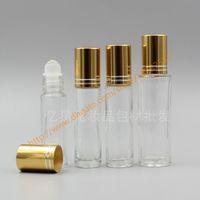 Wholesale Deodorant Bottles - 6ml 8ml 10ml 15ml clear Glass Bottle With glass roller+gold aluminum lid(two lines),roll-on bottle,perfume bottle,deodorant bottle