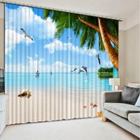 Wholesale Custom Kitchen Curtains - High Quality Customize size Modern beach tree custom curtain 3D Window Curtains For Bedding room