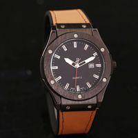 Wholesale swiss quartz dial watch - High quality 44mm brown big leather watch Large mens watches top brand luxury Designer Automatic calendar Swiss date black dial Quartz clock