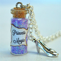Wholesale Wholesale Glass Slippers - 12pcs Princess Magic glass Bottle Necklace with a Slipper Charm finding Helpful Woodland Creatures Inspired necklace