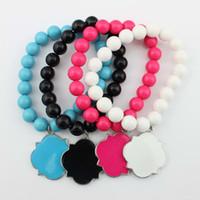 Wholesale Acrylic Blanks - Hot Sell Engraved Monogram Blank Bracelet Women Costume Jewelry Enamel Quatrefoil Clover Bracelet Handmade Beaded Monogram Blank Bracelets