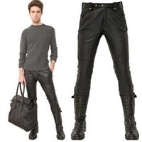 black quilted pants - Male Black Leather Pants Super Skinny Motorcycle Biker Faux Leather Pu Trousers For Men Quilted Knee Leather Cothing