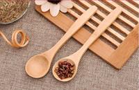 niños alimentando cuchara al por mayor-Nuevo diseño de la cocina 13cm té cuchara de madera Alimentación niño pequeño bebé de madera de seguridad para niños cuchara cuchara de café bebé cucharas