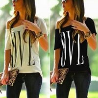 Wholesale Womens Long Sleeve White Shirts - Hot Selling Womens Love Letter Print T Shirt Sexy Off Shoulder Tops Short Sleeve Causal Blouse ZL3160