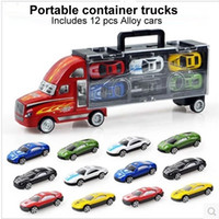 Wholesale Small Mini Toy Cars - 1:30 Scale Diecast Metal Alloy model Toys Diecast Metal truck Hauler +small cars For Children Gifts