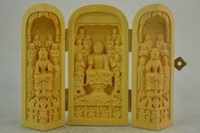 Wholesale Antique Wood Statue - Elaborate Old Boxwood Carving Buddha Prayer Peace & Good Healthy Exorcism Statue