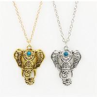 Wholesale Long Elephant Pendant Necklace - Wholesale- Vintage Chain pendant Necklace women Gypsy Ethnic Maxi Pendant Long necklace & pendants Turquoise Elephant necklace Jewelry