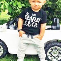 Wholesale Beatles Clothes - Baby Boy clothes 2pcs Short Sleeve T-shirt Tops +Pants Outfit Clothing Set Suit with The Beatles