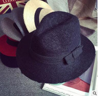 Wholesale Hat Wholesale England - Free shipping 2016 autumn and winter bowknot big eaves wool hat England retro knit jeans hat tide male and female hat