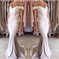 Wholesale Long Sleeve Blush Wedding Dresses - 2017 Blush Pink Wedding Party Dresses Off the Shoulder Sweetheart Appliqued Lace Short Sleeve Mermaid Bridesmaid Dresses