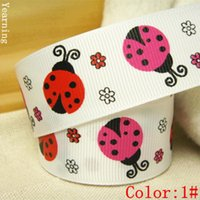 Wholesale Ladybug Ribbon Wholesale - Width 25mm Craft Fabric Tape Cartoon Ladybug Grosgrain Ribbon for DIY Headwear Wedding Party Festive Event Decoration Gift Wrap zd038
