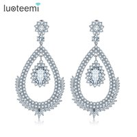 Wholesale Earring Korea Design - New Design Korea Style Drop Earrings Jewelry Accessories Double Oval Crystal Dangle Brincos Jewelry for Women Gift LUOTEEMI