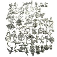 Wholesale Metal Owl Charms - 270pcs Mini Insects Pendant Charms Owl Tiger Animals Metal Accessories Pendant For DIY Necklace Bracelet Jewelry Making
