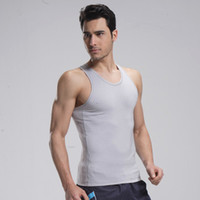 Wholesale Men Sleeveless Sweaters - Wholesale- Men's sleeveless sweater summer casual solid fashion male underwear o-neck slim fitness body building