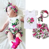 Wholesale Little Girl Pants Outfit - Little Girls Boutique Floral Summer Baby Girls Clothing Set Lace Ruffle Sleeve Girls Tees Short Pants Headband Toddler Outfit 3T