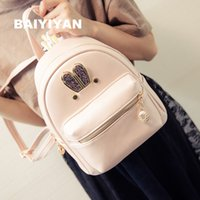 Wholesale Korean Style Coats For Girl - Wholesale- Fashion Women Coat of paint Leather Backpack Preppy Style School Bag Cute Bunny Rabbit Ears Small Backpack For Teenagers Girls