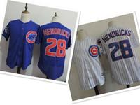 Wholesale Cotton Shorts Online - Cubs 28 HENDRICKS Blue White Strip Throwback Baseball Jerseys shirT TOPS ,2017 NEW EMNS baseball wear,Cheap baseball Jerseys Online Discount