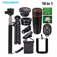 Lens   2017 New 10in1 Phone Camera Lens Kit 8x Telephoto Lens + Wide Angle + Macro Lens +Fish Eye +Selfie Stick Monopod + Mini Tripod free shipping